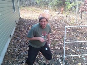 guy enjoying ladder golf