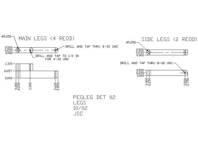 hexapod leg CAD drawing - Pegleg