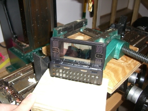 env2 with 2 x 4 stand taking picture of mill vise